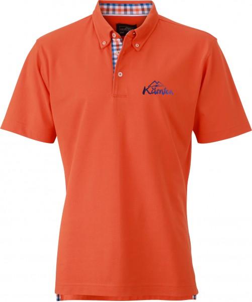Herren Polo-Shirt mit kariertem Besatz
